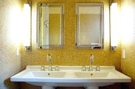 penny tile backsplash yellow tiles add golden glint to the small bathroom photography white kitchen