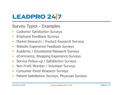 presentation survey examples leadpro online surveys builder software overview presentation
