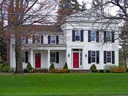 i love white houses with black shutters a red door