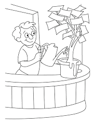 play money coloring pages a boy giving water in the money plant coloring pages play play money coloring pages