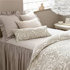 damask bed linen awesome pine cone hill savannah linen chambray dove gray bedspread