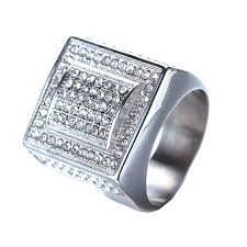 super popular hijones mens stainless steel hip hop cubic zirconia square bold rings 56331
