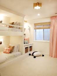 the sweetest girls room with built in bunk beds a starry brass light fixture childrens room lighting