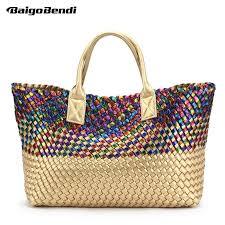 las shinning colourful rainbow woven leather handbag high capacity hobo women s kniing serpentine bag large casual tote