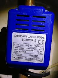 blue plastic housed motor head or actuator from a british gas two port motorised valve