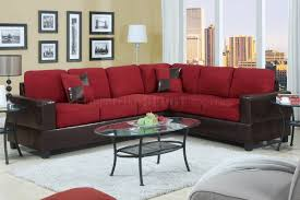 Microfiber Living Room Furniture Sets F7638 Modern Sectional Sofa In Red Microfiber By Poundex