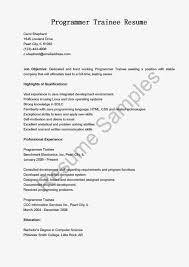 Programmer Trainee Resume Sample Resume Samples Resame