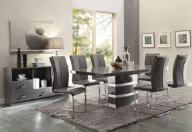 chrome dining table and chairs lowry piece set high gloss taupe metal grey with side chair wooden room wood round extendable for glass black expandable