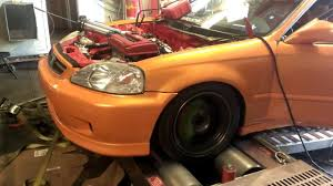 B20 Vtec Dyno 251whp All Motor Honda Civic Youtube