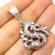details about 925 sterling silver chinese dragon pendant