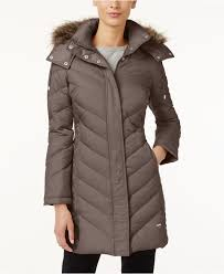 Kenneth cole Faux-Fur-Trim Chevron Quilted Down Coat in Brown ... & Kenneth Cole. Women's Brown Faux-Fur-Trim Chevron Quilted Down Coat Adamdwight.com