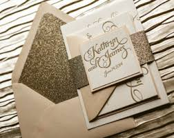 glitter glam & rustic wedding invitations by flairnecessities Pink And Gold Wedding Invitation Kits blush & gold glitter letterpress wedding invitation, gold glitter wedding invite, calligraphy invitation, Pink and Gold Glitter Wedding Invitations