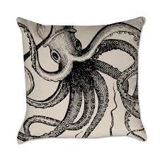 vintage octopus pillow  coastal pillow project cottage