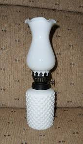 details about hobnail milk glass kerosene oil lamp 8 inches in height