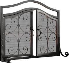 plow hearth small crest fireplace screen with doors reviews wayfair
