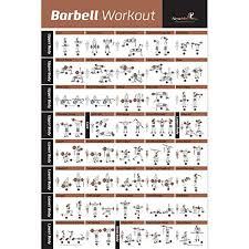 Weight Training Chart With Pictures Barbell Workout Exercise Poster Laminated Home Gym Weight Lifting Chart Build Muscle Tone Tighten Strength Training Routine Body Building
