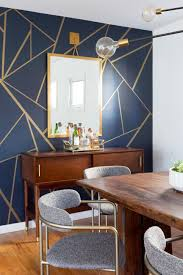 Eclectic Dining Room with Navy and Gold ...