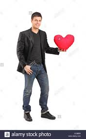 Man Shaped Pillow Full Length Portrait Of A Man Holding A Red Heart Shaped Pillow