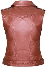 womens red sleeveless leather vest