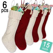 LimBridge Set of 6 Knitted Christmas Stockings, Heavy Knit Elastic Stocking  15