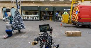 mcdonald s christmas advert is being filmed at its bath branch in  mcdonald s christmas advert is being filmed at its bath branch in southgate bath chronicle