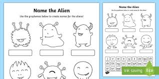 Phonics worksheets to support your child's learning and help them prepare for the year 1 phonics screening check. Phase 3 Phonics Name The Alien Worksheet Worksheet