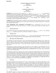 Sublet Agreement Form Example Sublease Agreement Templateial Sample Sublet Lease 22