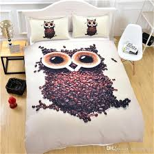 owl duvet cover cute bedding set coffee beans printed with pillowcases single queen king size soft