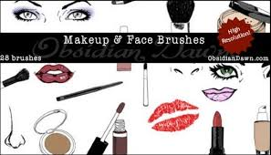 make up face skectches brushes