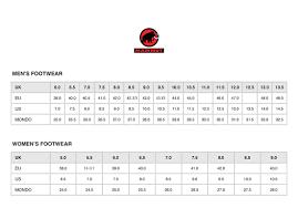 Mammut Size Chart Uk Mammut Boot Sizes
