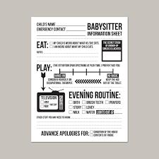 babysitter information sheet printable instant downloadable babysitter information sheet