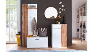 Garderobe 3 Granada Komplett Set Weiß Hochglanz Lack Eiche