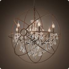 foucault s iron orb crystal chandelier rustic iron medium