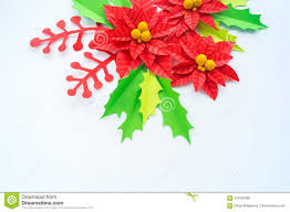 Christmas Paper Flower Wreath Paper Flower Poinsettia And Leaves Of Holly Stock Photo Image Of