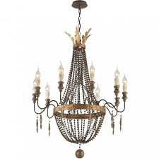 delacroix candle wood bead chandelier light