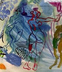 veleros en el mediterraneo 81 x 100 cm mix media on canvas art london contemporary artists painters paintings merello viento azul mix media