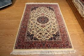 French Design Rugs Fine Quality Handmade Hand Knotted 4 X 6 Wool Rug Floral