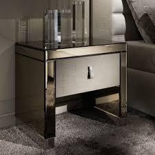 modern mirrored furniture. Modern Mirrored Alligator Embossed Leather Bedside Table Furniture E