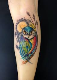 New School Tattoo With Owl And Sun