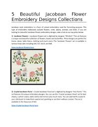 Allstitch Embroidery Designs 5 Beautiful Jacobean Flower Embroidery Designs By