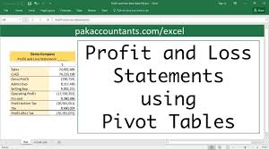 Create A Profit And Loss Statement Making Profit Loss Statements In Excel Using Pivot Tables