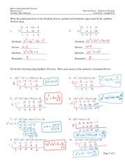 Synthetic Division Study Resources2 Pages Synthetic Division Review Answers