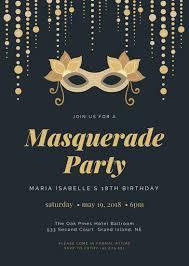 18th Birthday Masquerade Party Invitation Templates By Canva