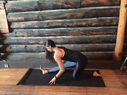 lower into a lunge and bring the back knee to the floor raise your arms above your head concentrate on lightly pushing the hips forward and opening the