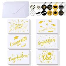 Supla Graduation Cards Bulk 54 Sets Blank Gold Foil Graduation Greeting Cards Congratulations Graduation Cards Congrats Grad Card Set With Envelopes