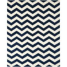 Safavieh Chatham Dark Blue or Ivory Chevron Area Rug square blue white  stripes pattern wool carpet