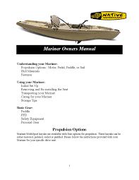 Marine Boat Polish Designed For Polyethylene Hulls Native Watercraft Mariner Owners Manual By Padl Issuu