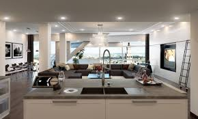 Living Room And Kitchen Interior Luxury Hotel Apartment Kitchen Living Room Table Chair