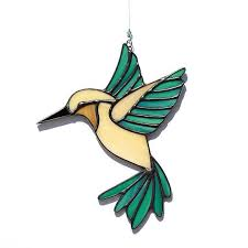 hummingbird ornament elegant stained glass hummingbird suncatcher stain glass tan and teal of hummingbird