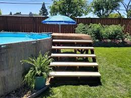 above ground pool stairs steps build diy above ground pool re above ground pool stairs steps